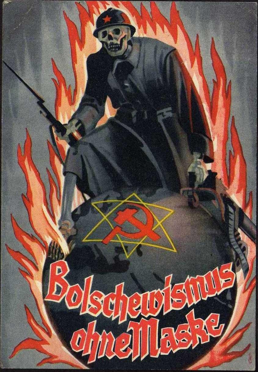 Antisemitisk propagandabild från nazityskland som beskriver kommunismen som ett judiskt hot