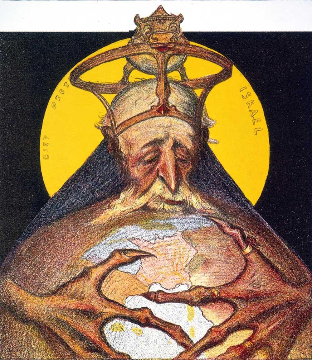 Antisemitisk tecknad bild på äldre man som greppar jordklotet med kloliknande fingrar.