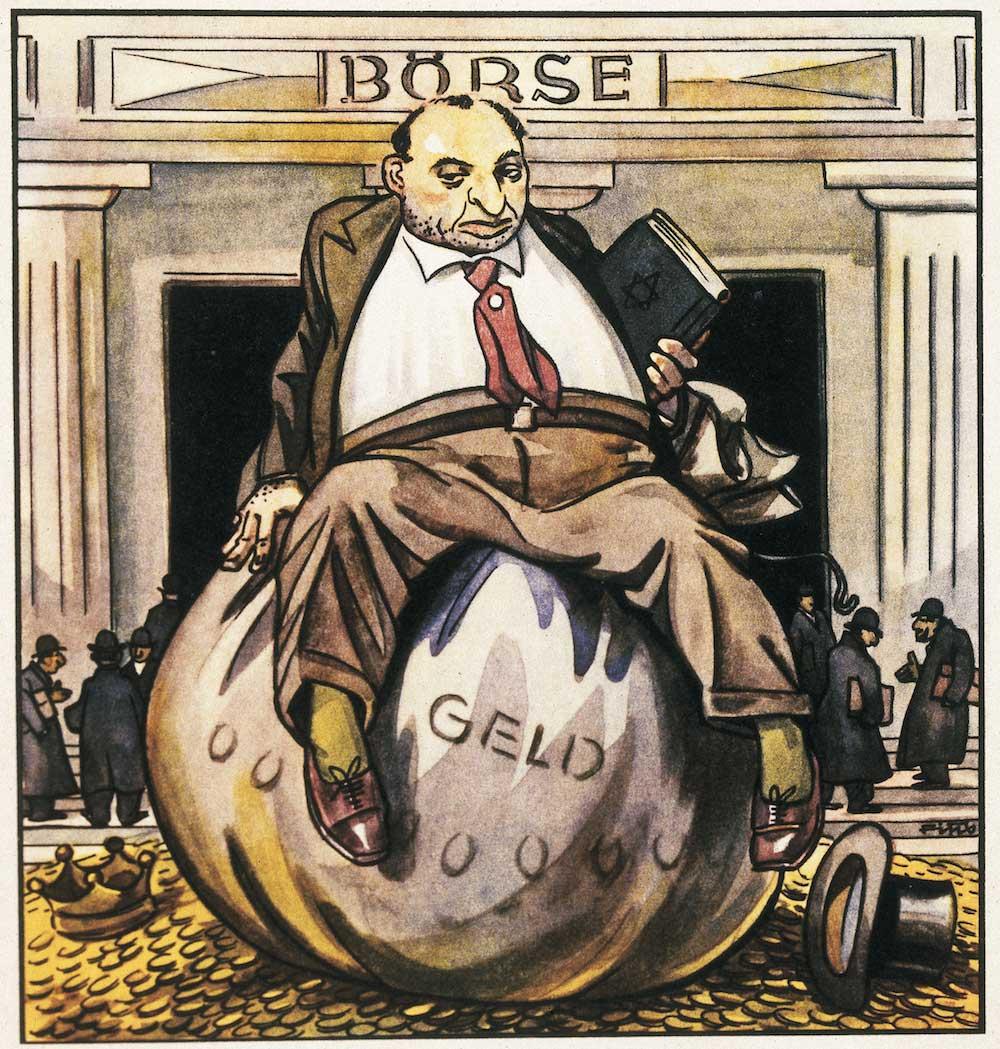 Nazitysk antisemitisk bild som anspelar på bilden av judar som giriga kapitaliser. Bilden är från nazityskland under trettiotalet.
