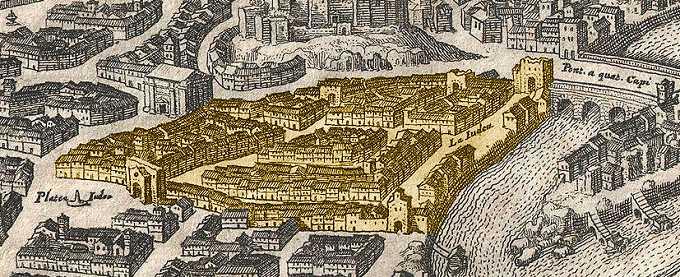 Äldre teckning över femtonhundratalets Rom som visar det judiska gettot
