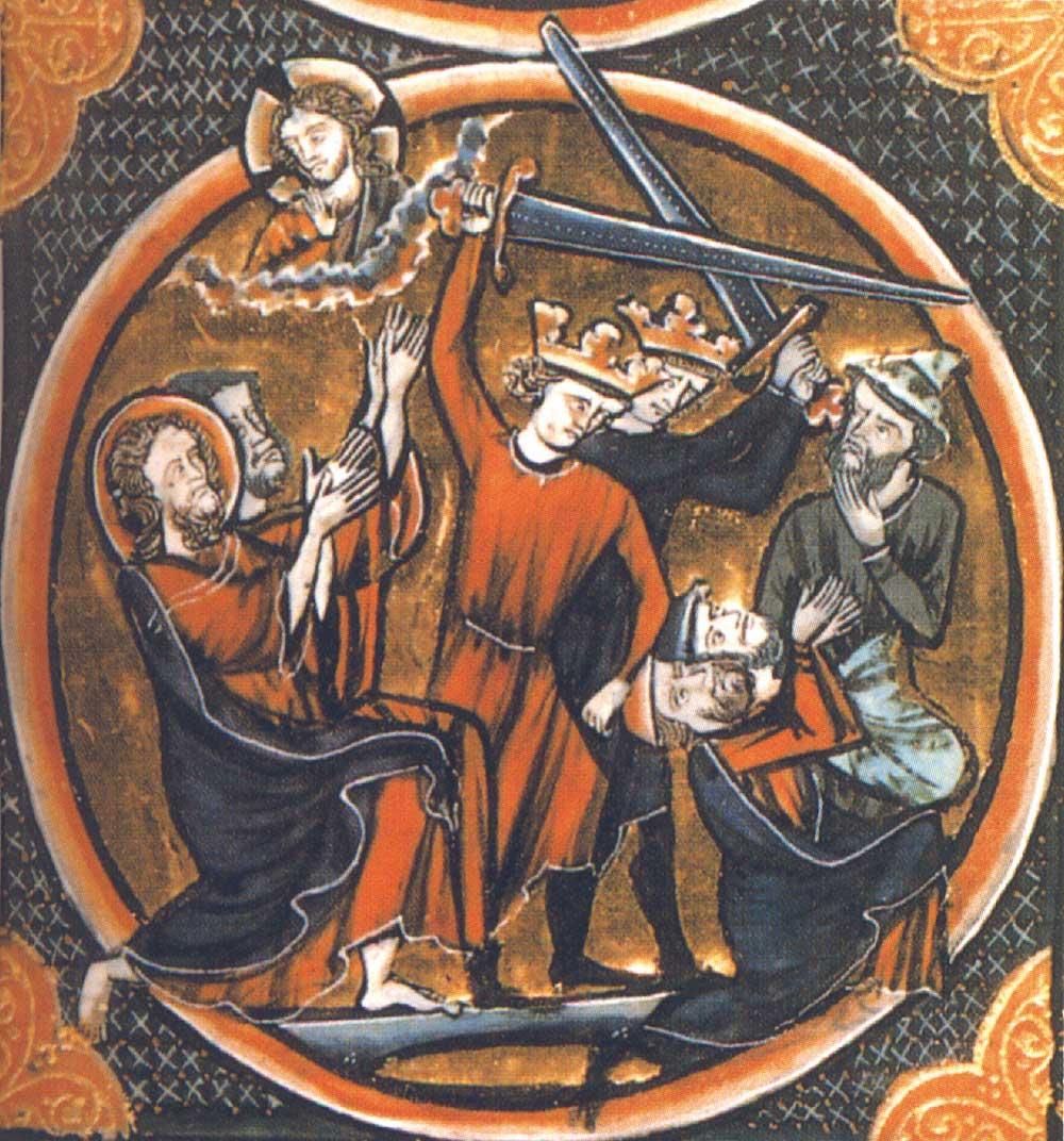 Äldre bild på korsriddare som dödar judar