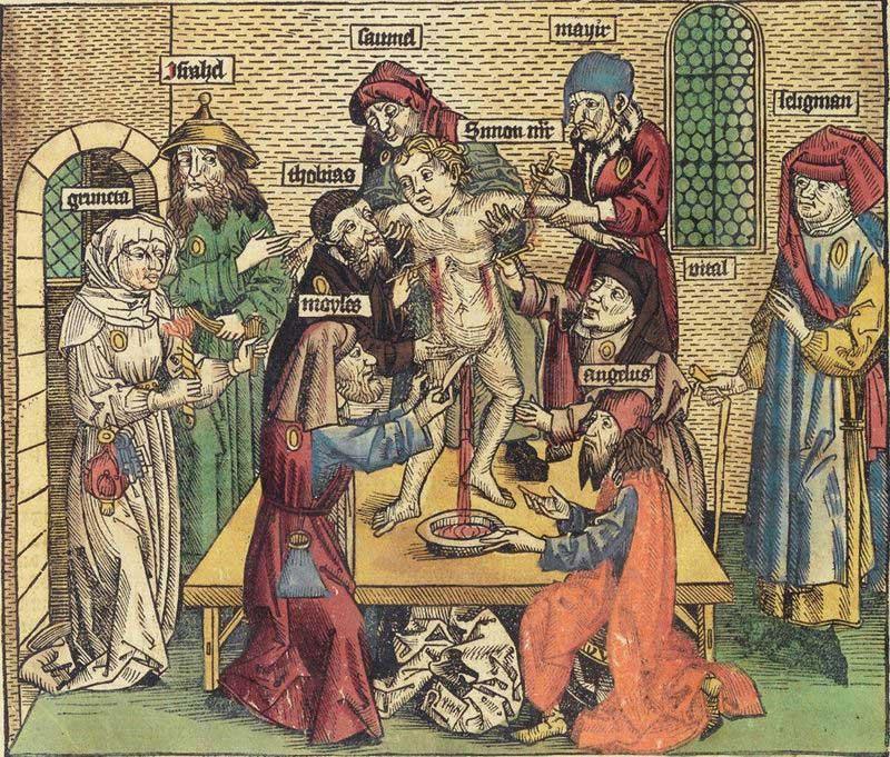 Bild från fjortonhundratalet som sprider myten om ritualmord