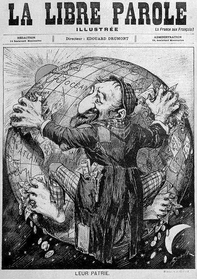 Bilden visar omslaget till den franska tidningen La Libre Parole. På omslaget visas en antisemitisk karikatyr av en jude som håller jordgloben i sitt grepp.