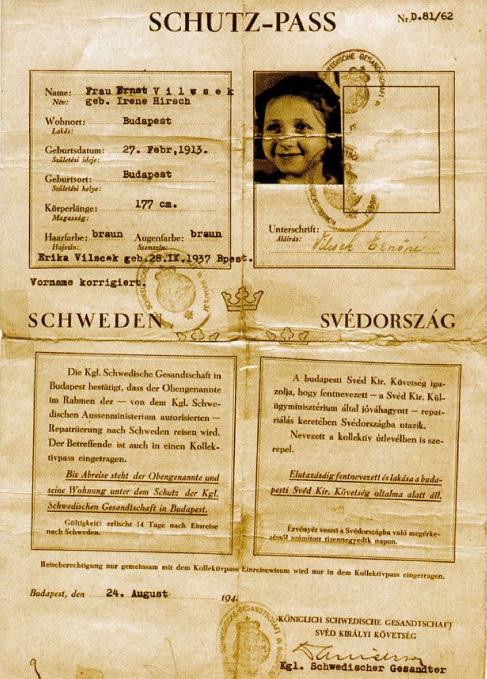 Foto på ett skyddspass av det slag Raoul Wallenberg delade ut