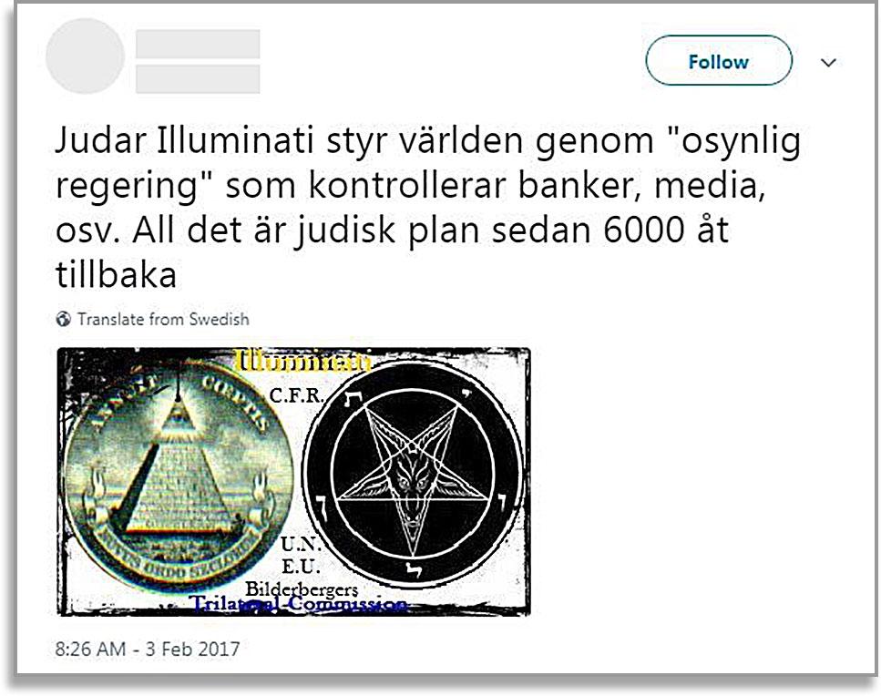 """Skärmavbild på antisemitisk tweet med texten: """"Judar Illuminati styr världen genom """"osynlig regering"""" som kontrollerar banker, media, osv. All det är judisk plan sedan 6000 år tillbaka."""""""