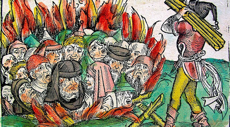 Äldre målning som visar hur judar bränns på bål anklagade för att ligga bakom pesten.