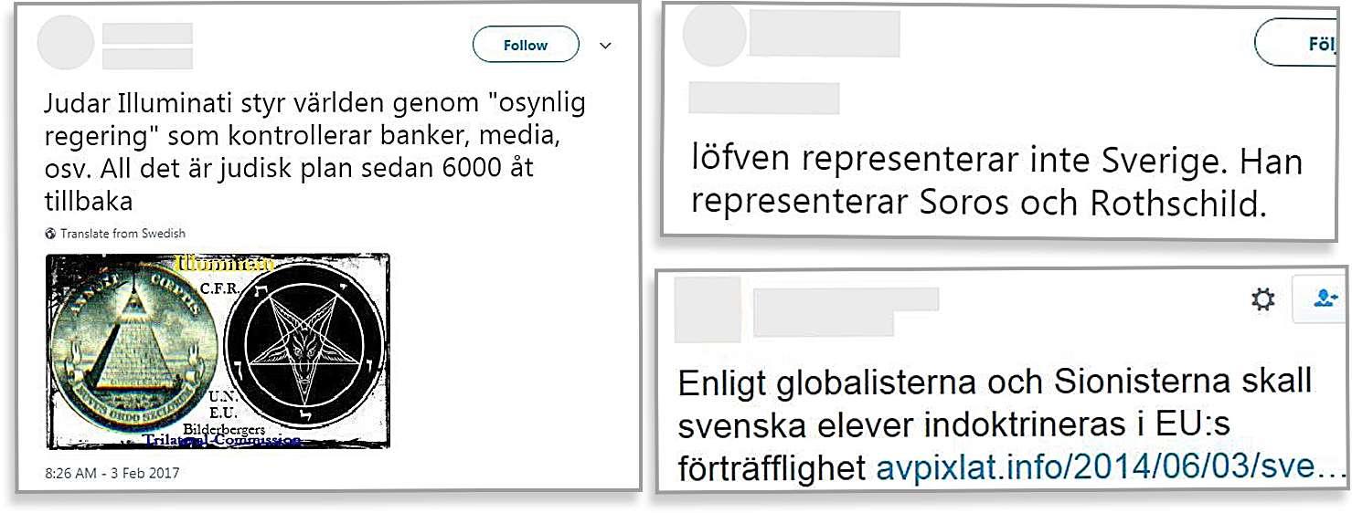 """Tre skärmavbilder på antisemitiska inlägg på sociala medier. Den första lyder: """"Judar Illuminati styr världen genom """"osynlig regering"""" som kontrollerar banker, media, osv. All det är judisk plan sedan 6000 år tillbaka."""" Den andra lyder: """"Löfven representerar inte Sverige. Han representerar Soros och Rothschild."""" Den tredje lyder: """"Enligt globalisterna och Sionisterna skall svenska elever indoktrineras i EU:s förträfflighet."""""""